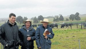 Will Caldwell, Milwillah Angus, Young, with Nigel Robards, manager of Ulladulla Pastoral Company, Holbrook and Tim Wright, Elders, Holbrook.